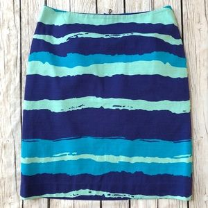 Ann Taylor blue watercolor stripe pencil skirt